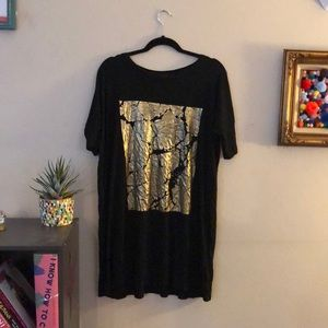 Black T Shirt Dress WITH gold Graphic
